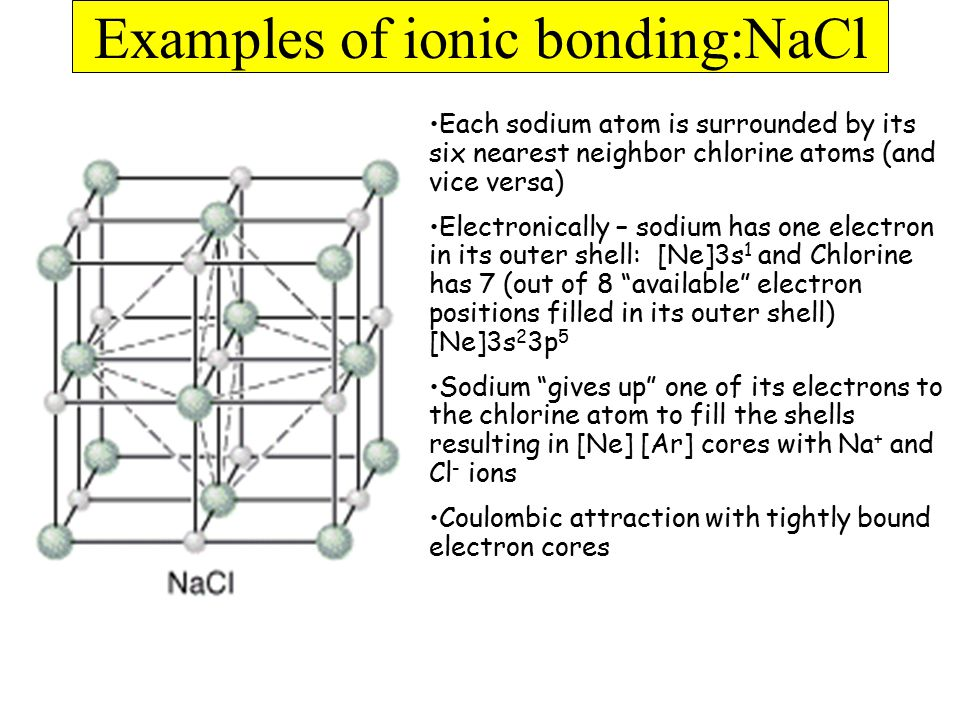 Examples of ionic bonding:NaCl Each sodium atom is surrounded by its six nearest neighbor chlorine atoms (and vice versa) Electronically – sodium has one electron in its outer shell: [Ne]3s 1 and Chlorine has 7 (out of 8 available electron positions filled in its outer shell) [Ne]3s 2 3p 5 Sodium gives up one of its electrons to the chlorine atom to fill the shells resulting in [Ne] [Ar] cores with Na + and Cl - ions Coulombic attraction with tightly bound electron cores