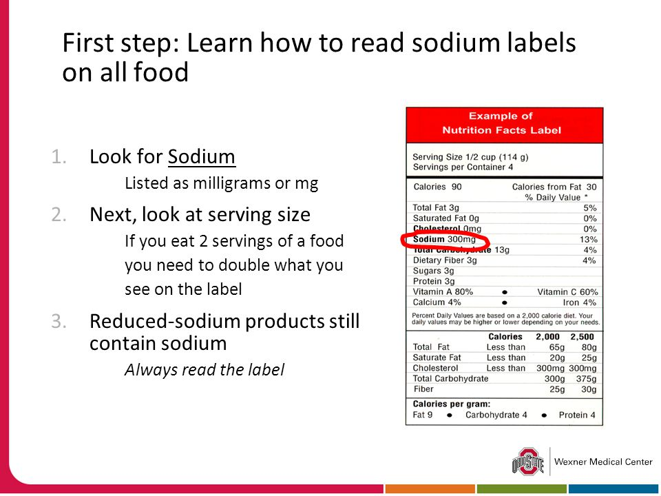 First step: Learn how to read sodium labels on all food 1.Look for Sodium Listed as milligrams or mg 2.Next, look at serving size If you eat 2 servings of a food you need to double what you see on the label 3.Reduced-sodium products still contain sodium Always read the label