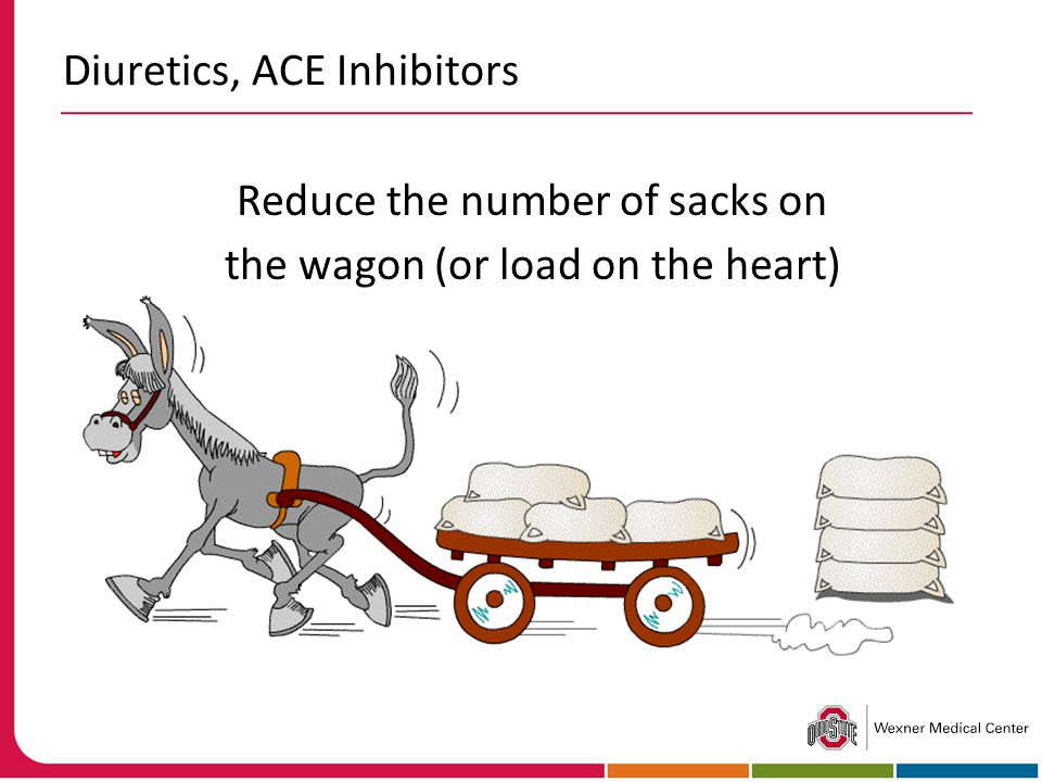 Diuretics, ACE Inhibitors Reduce the number of sacks on the wagon (or load on the heart)