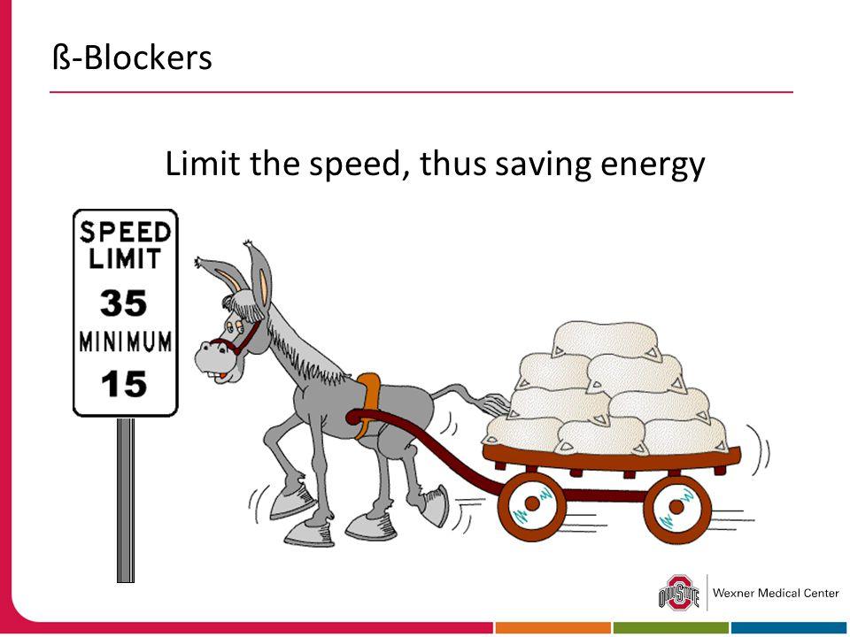 ß-Blockers Limit the speed, thus saving energy