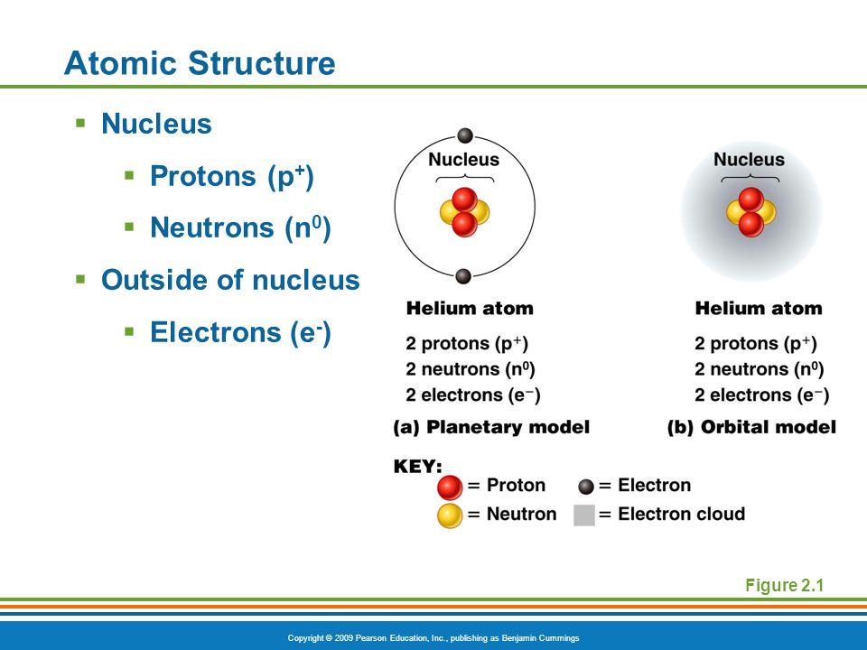 Copyright © 2009 Pearson Education, Inc., publishing as Benjamin Cummings Atomic Structure  Nucleus  Protons (p + )  Neutrons (n 0 )  Outside of nucleus  Electrons (e - ) Figure 2.1