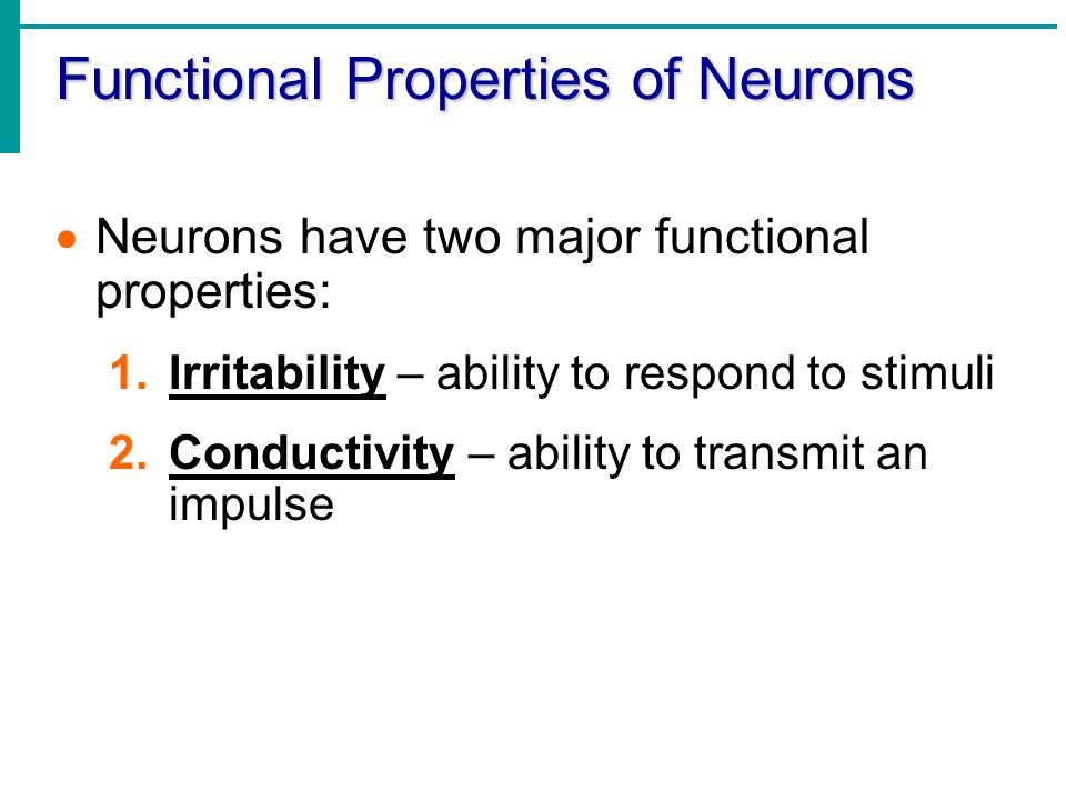 Functional Properties of Neurons  Neurons have two major functional properties: 1.Irritability – ability to respond to stimuli 2.Conductivity – abili
