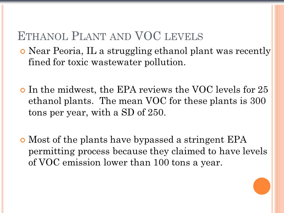 E THANOL P LANT AND VOC LEVELS Near Peoria, IL a struggling ethanol plant was recently fined for toxic wastewater pollution.