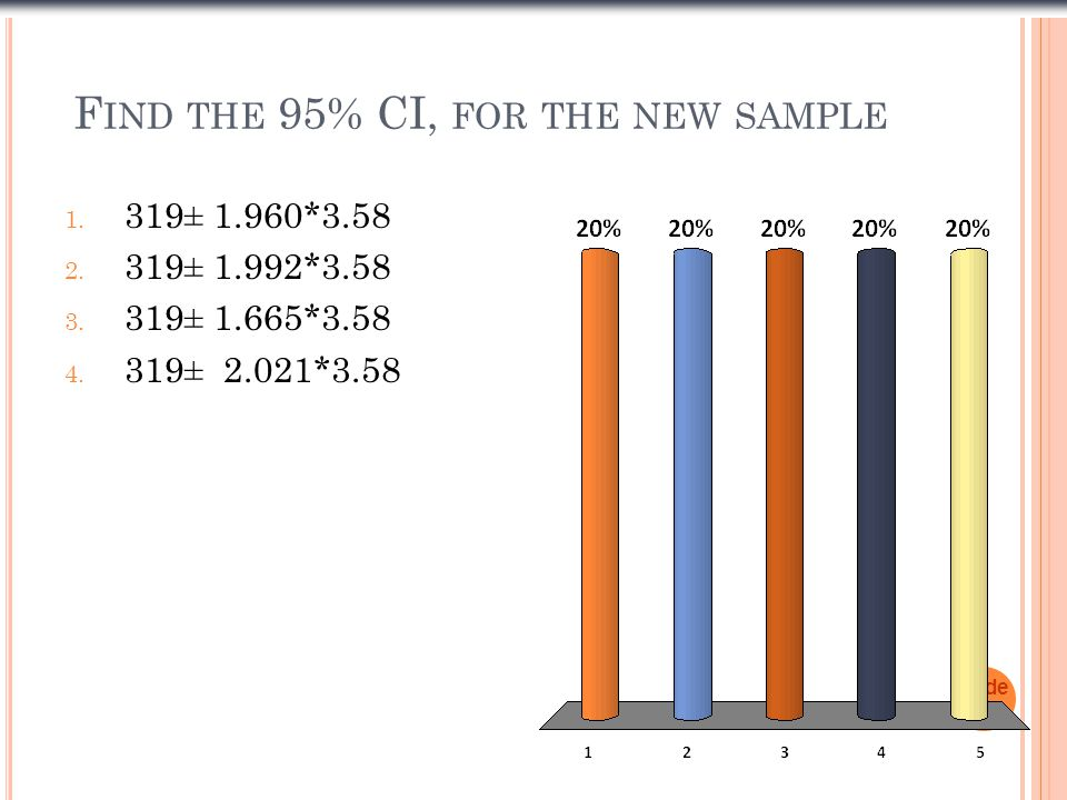 F IND THE 95% CI, FOR THE NEW SAMPLE 1. 319± 1.960*3.58 2.