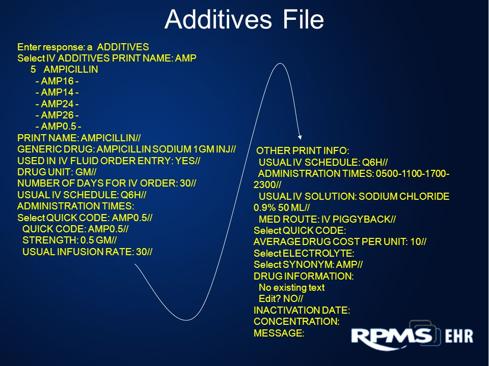 Additives File Enter response: a ADDITIVES Select IV ADDITIVES PRINT NAME: AMP 5 AMPICILLIN - AMP16 - - AMP14 - - AMP24 - - AMP26 - - AMP0.5 - PRINT NAME: AMPICILLIN// GENERIC DRUG: AMPICILLIN SODIUM 1GM INJ// USED IN IV FLUID ORDER ENTRY: YES// DRUG UNIT: GM// NUMBER OF DAYS FOR IV ORDER: 30// USUAL IV SCHEDULE: Q6H// ADMINISTRATION TIMES: Select QUICK CODE: AMP0.5// QUICK CODE: AMP0.5// STRENGTH: 0.5 GM// USUAL INFUSION RATE: 30// OTHER PRINT INFO: USUAL IV SCHEDULE: Q6H// ADMINISTRATION TIMES: 0500-1100-1700- 2300// USUAL IV SOLUTION: SODIUM CHLORIDE 0.9% 50 ML// MED ROUTE: IV PIGGYBACK// Select QUICK CODE: AVERAGE DRUG COST PER UNIT: 10// Select ELECTROLYTE: Select SYNONYM: AMP// DRUG INFORMATION: No existing text Edit.