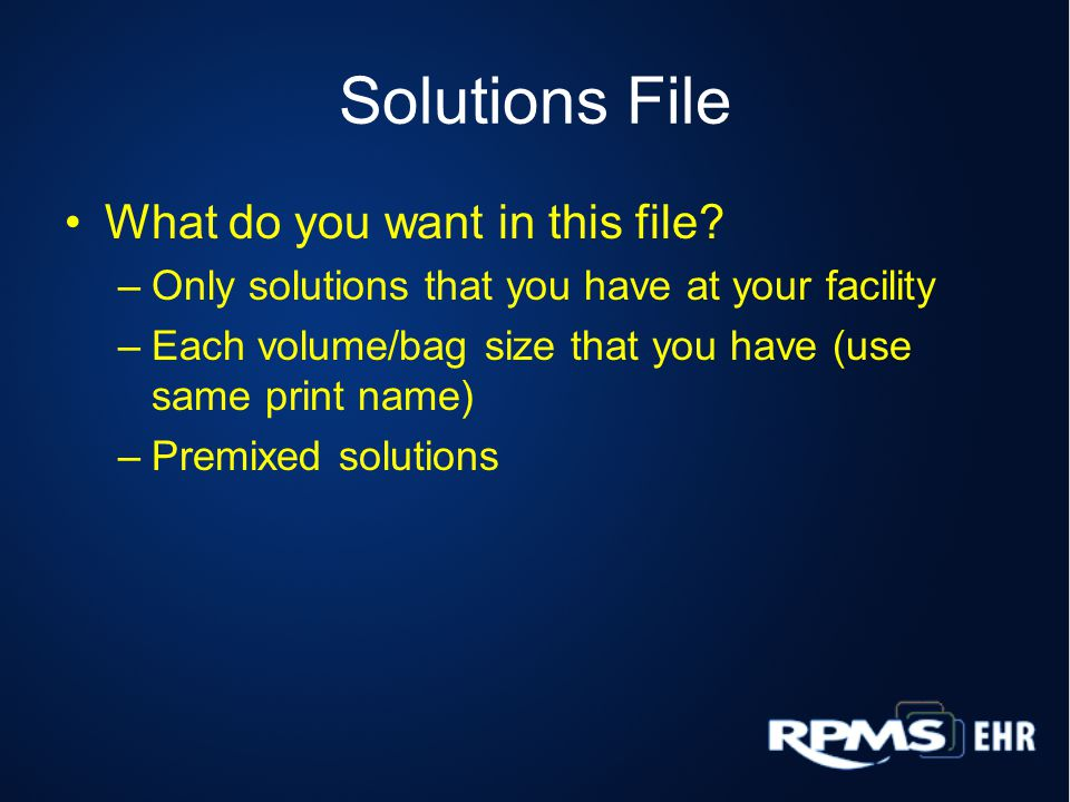 Solutions File What do you want in this file.