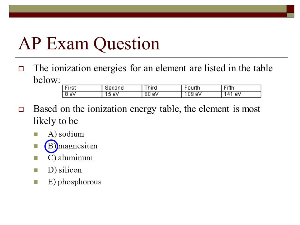 AP Exam Question  The ionization energies for an element are listed in the table below:  Based on the ionization energy table, the element is most likely to be A) sodium B) magnesium C) aluminum D) silicon E) phosphorous