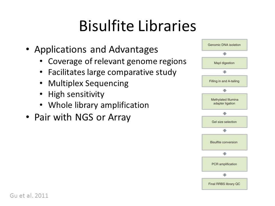 Bisulfite Libraries Applications and Advantages Coverage of relevant genome regions Facilitates large comparative study Multiplex Sequencing High sensitivity Whole library amplification Pair with NGS or Array Gu et al.