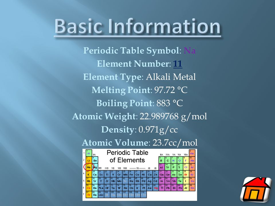 Periodic Table Symbol : Na Element Number : 11 Element Type : Alkali Metal Melting Point : 97.72 °C Boiling Point : 883 °C Atomic Weight : 22.989768 g/mol Density : 0.971g/cc Atomic Volume : 23.7cc/mol