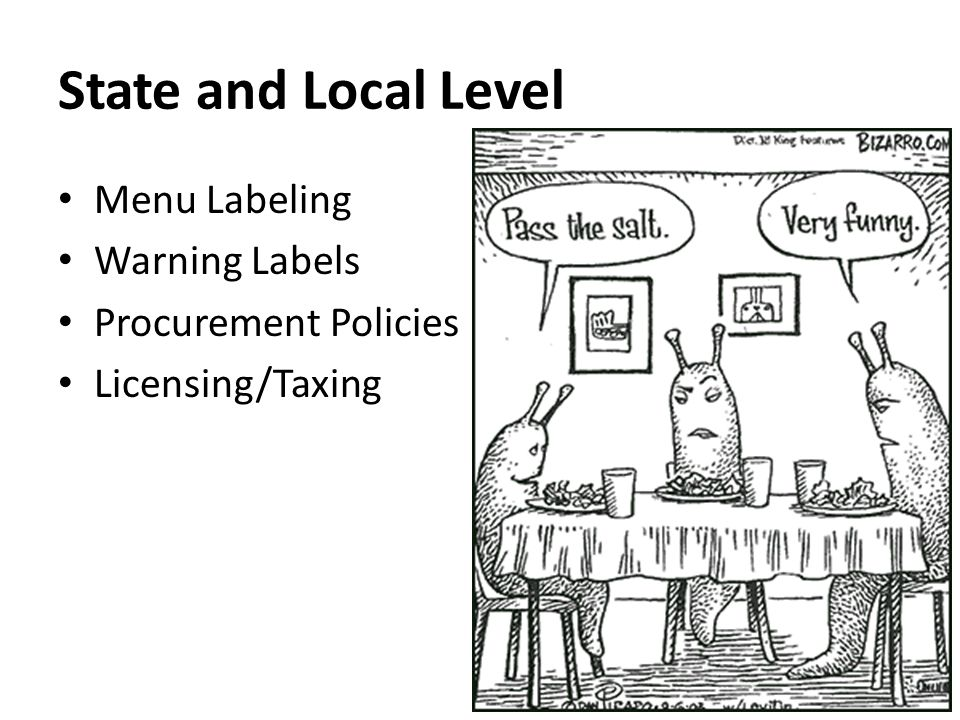 State and Local Level Menu Labeling Warning Labels Procurement Policies Licensing/Taxing