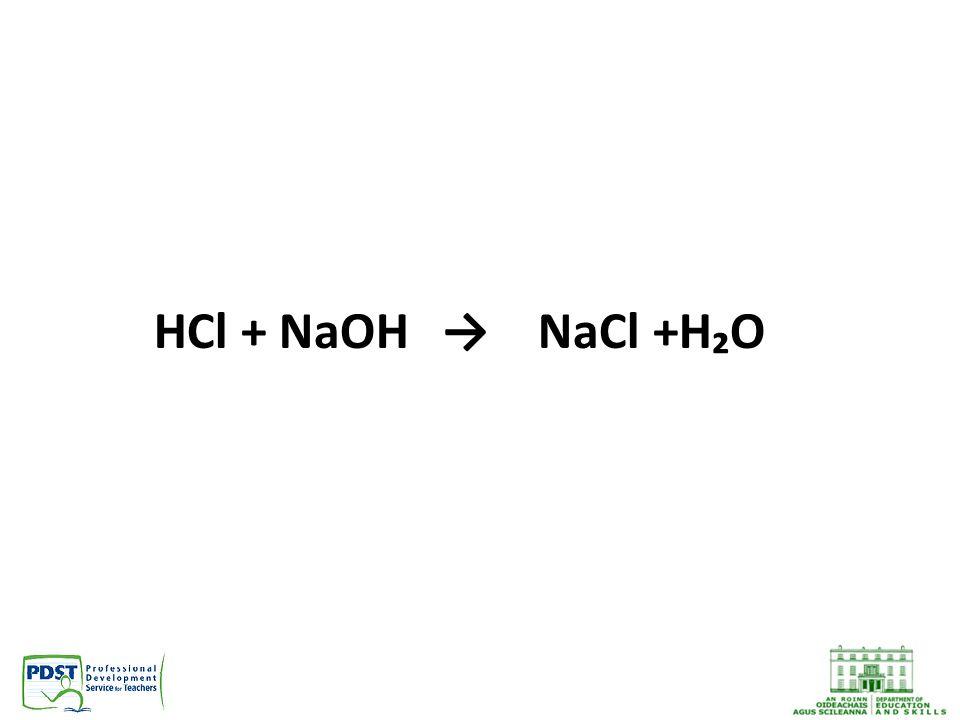 HCl + NaOH→NaCl +H₂O