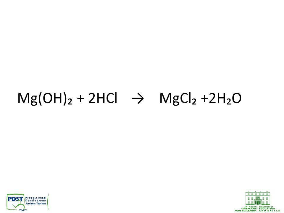 Mg(OH)₂ + 2HCl→MgCl₂ +2H₂O
