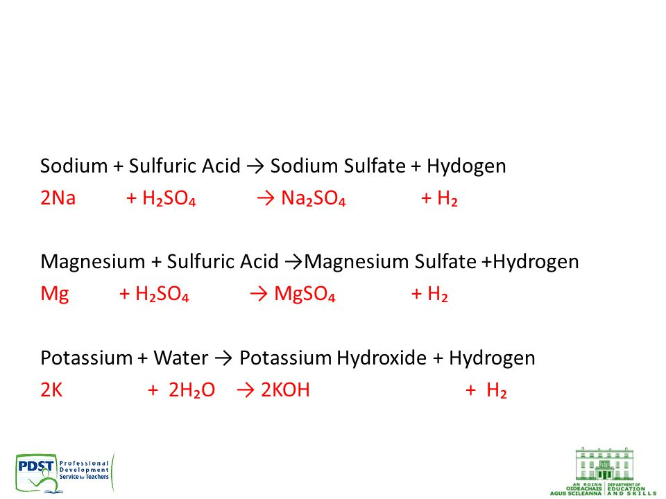 Sodium + Sulfuric Acid → Sodium Sulfate + Hydogen 2Na + H₂SO₄ → Na₂SO₄ + H₂ Magnesium + Sulfuric Acid →Magnesium Sulfate +Hydrogen Mg + H₂SO₄ → MgSO₄ + H₂ Potassium + Water → Potassium Hydroxide + Hydrogen 2K + 2H₂O → 2KOH + H₂