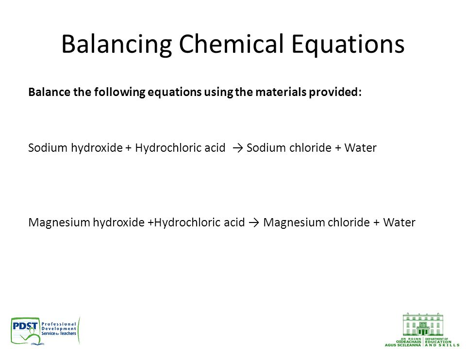 Calcium Carbonate + Hydrochloric Acid → Calcium Chloride + Carbon Dioxide +Water CaC0₃ + 2HCl → CaCl₂ + CO₂ + H₂O Sodium + Oxygen → Sodium Oxide 4Na + O₂ → 2Na₂O Calcium Carbonate + Sulfuric Acid → Calcium Sulfate + Carbon Dioxide Water CaC0₃ + H₂SO₄ → CaSO₄ + CO₂ + H₂O