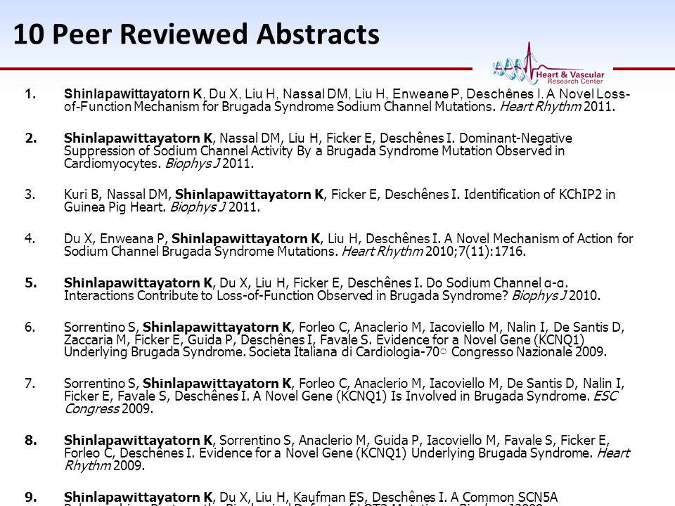 10 Peer Reviewed Abstracts 1.Shinlapawittayatorn K, Du X, Liu H, Nassal DM, Liu H, Enweane P, Deschênes I. A Novel Loss- of-Function Mechanism for Bru
