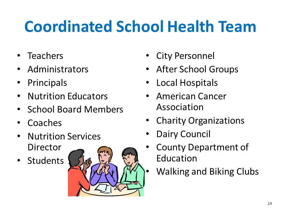 19 Coordinated School Health Team Teachers Administrators Principals Nutrition Educators School Board Members Coaches Nutrition Services Director Stud