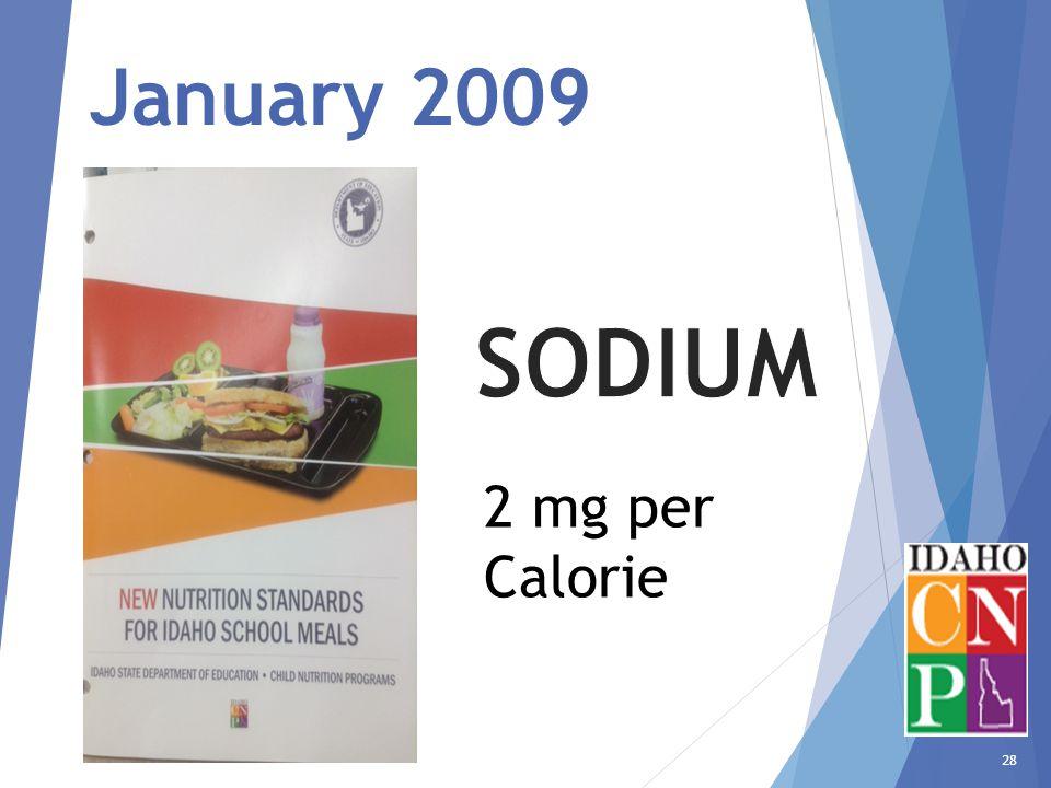 28 January 2009 2 mg per Calorie