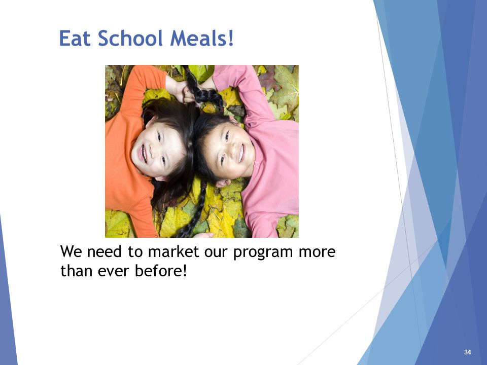 34 Eat School Meals! We need to market our program more than ever before!