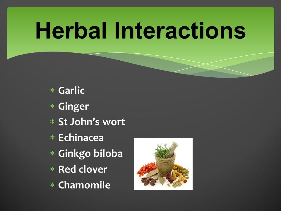 Herbal Interactions  Garlic  Ginger  St John's wort  Echinacea  Ginkgo biloba  Red clover  Chamomile