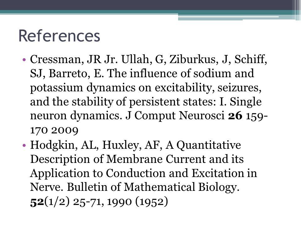 References Cressman, JR Jr. Ullah, G, Ziburkus, J, Schiff, SJ, Barreto, E.
