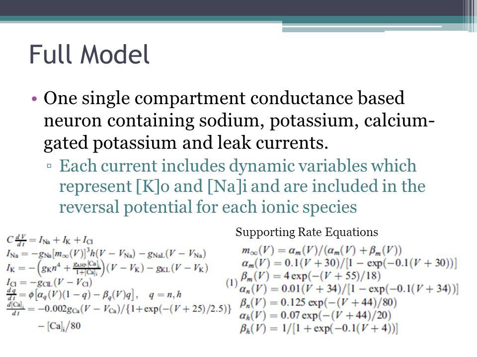 Full Model One single compartment conductance based neuron containing sodium, potassium, calcium- gated potassium and leak currents.