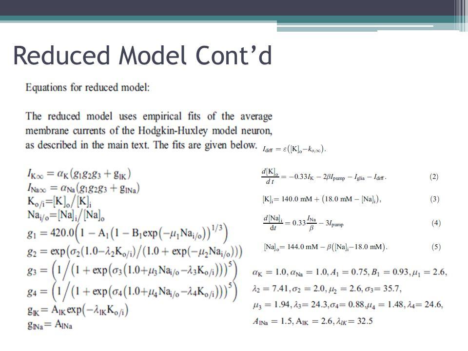 Reduced Model Cont'd