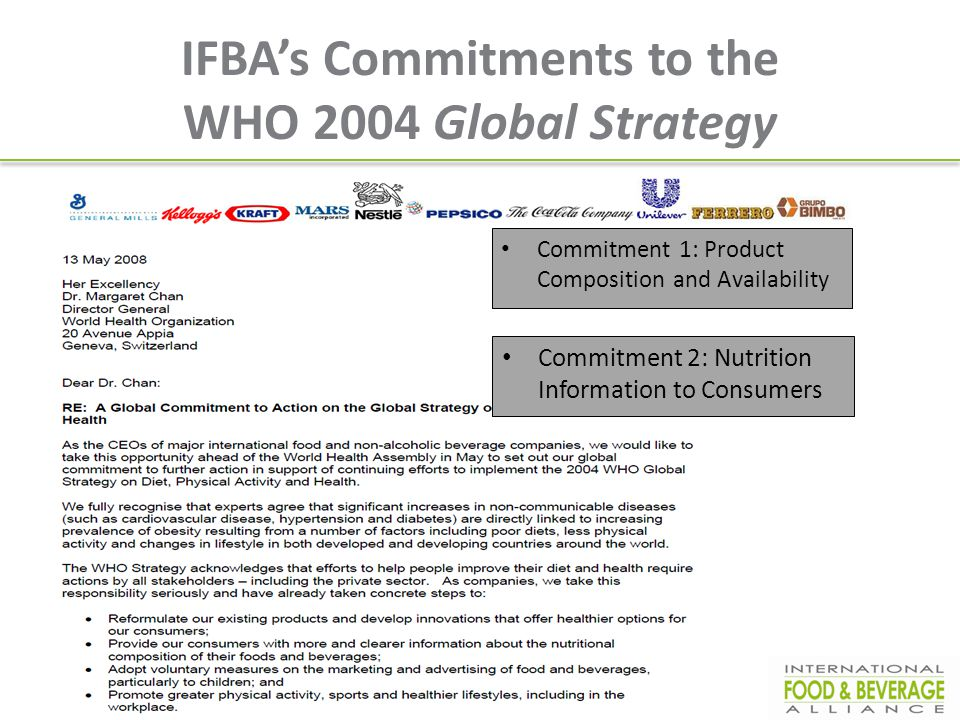 IFBA's Commitments to the WHO 2004 Global Strategy Commitment 1: Product Composition and Availability Commitment 2: Nutrition Information to Consumers