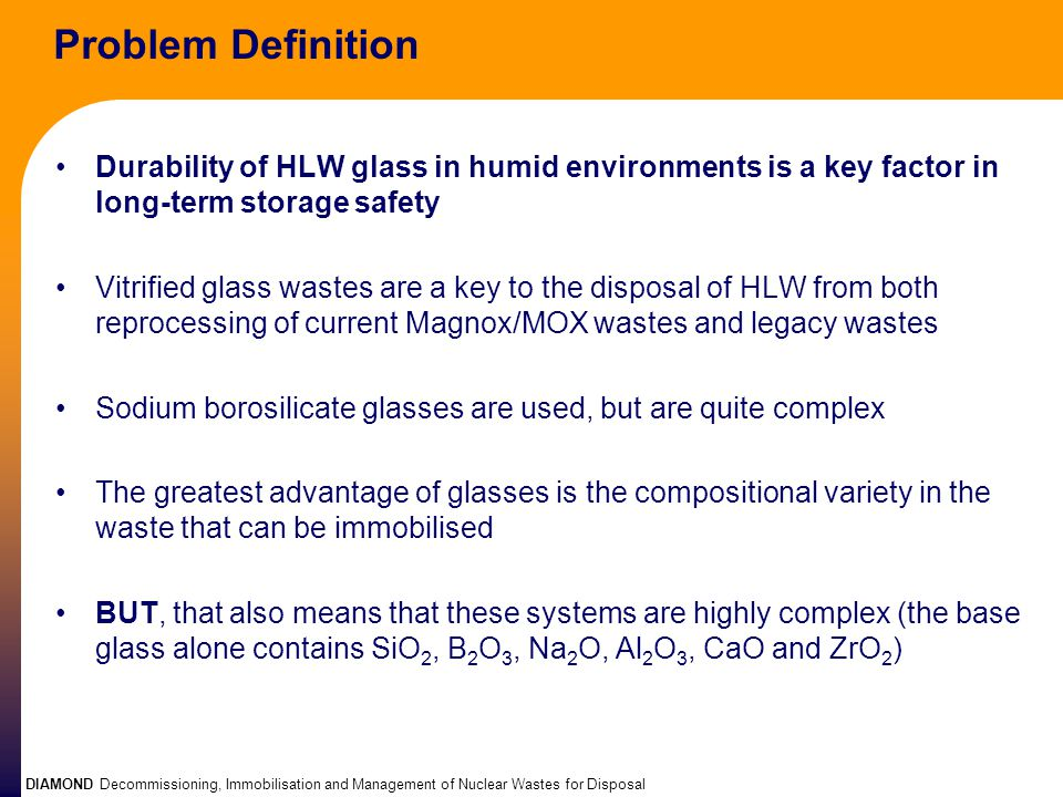 DIAMOND Decommissioning, Immobilisation and Management of Nuclear Wastes for Disposal Problem Definition Durability of HLW glass in humid environments