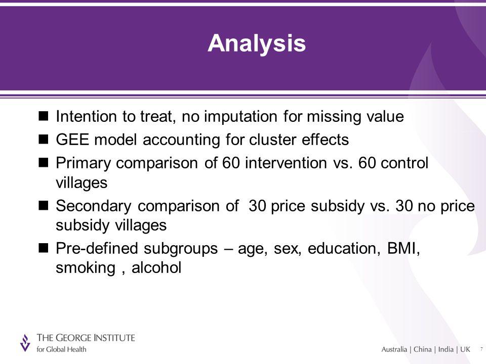 88 Survey data 60 intervention villages  1,295 questionnaire and examination  1,063 urine sample (82%) 59 control villages  1,272 questionnaire and examination  1,001 urine sample (77%)