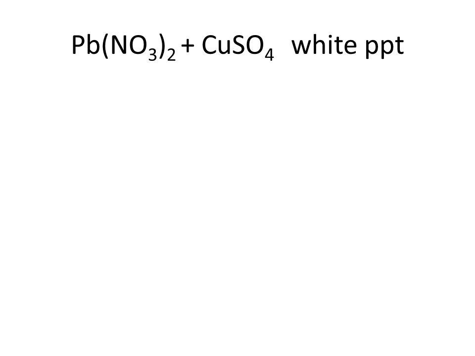 Pb(NO 3 ) 2 + CuSO 4 white ppt