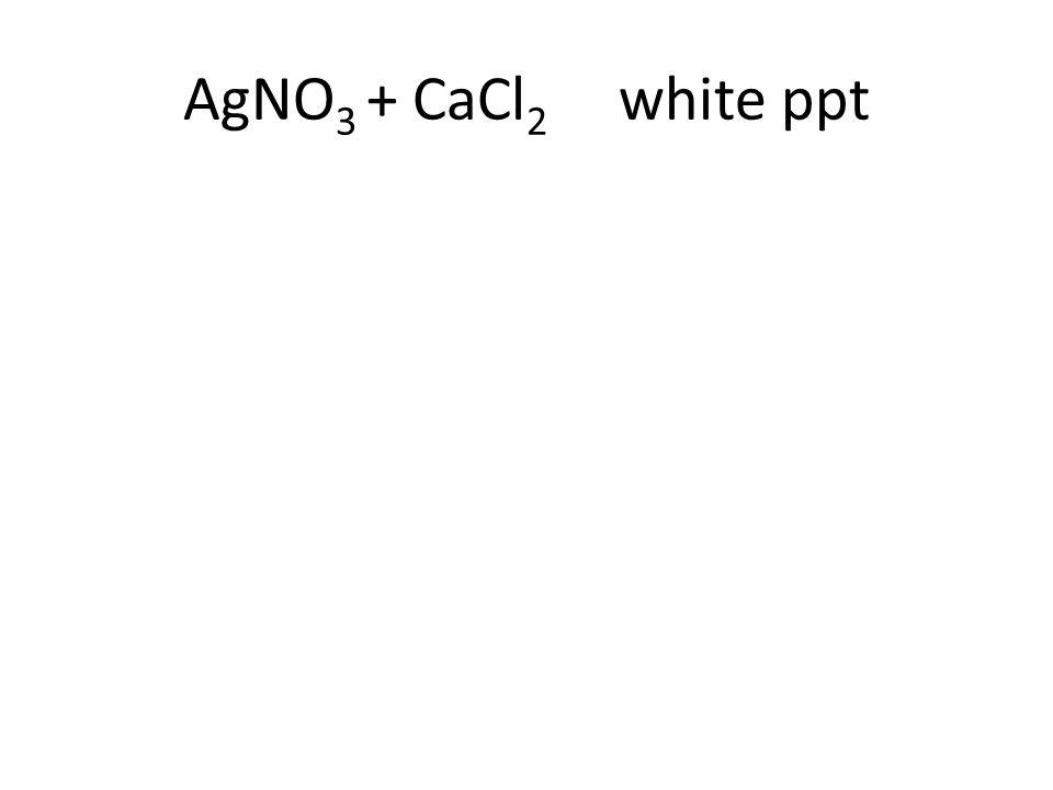 AgNO 3 + CaCl 2 white ppt