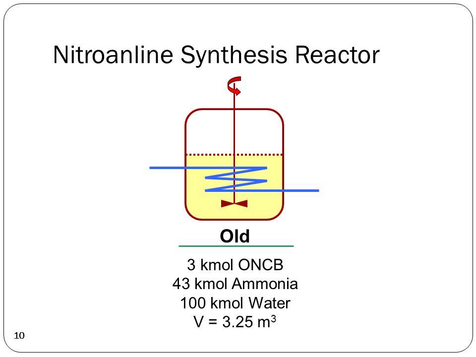 Nitroanline Synthesis Reactor 10 Old 3 kmol ONCB 43 kmol Ammonia 100 kmol Water V = 3.25 m 3