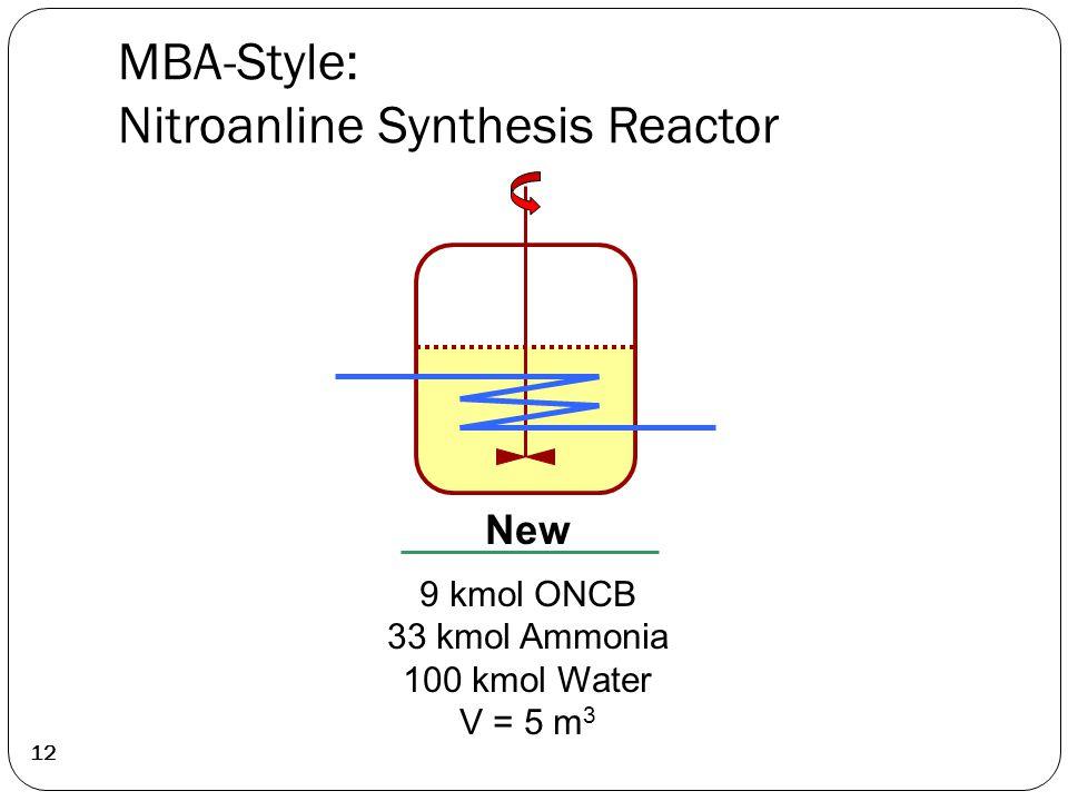 MBA-Style: Nitroanline Synthesis Reactor 12 New 9 kmol ONCB 33 kmol Ammonia 100 kmol Water V = 5 m 3