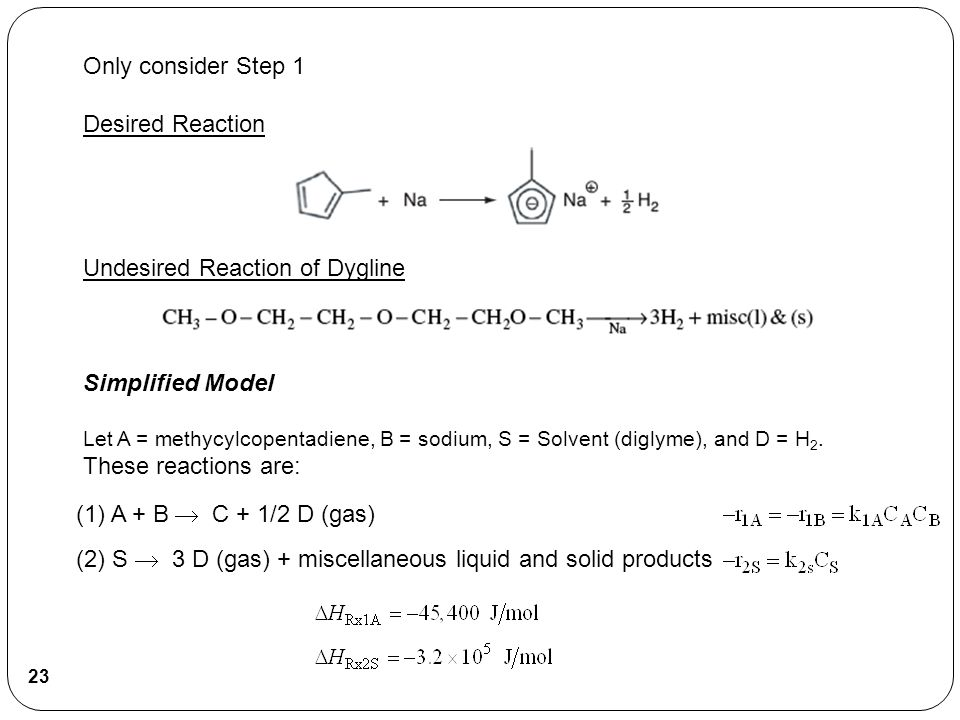 Only consider Step 1 Desired Reaction Undesired Reaction of Dygline Simplified Model Let A = methycylcopentadiene, B = sodium, S = Solvent (diglyme),