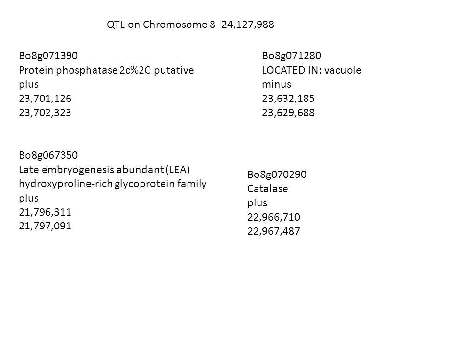 QTL on Chromosome 8 24,127,988 Bo8g071390 Protein phosphatase 2c%2C putative plus 23,701,126 23,702,323 Bo8g071280 LOCATED IN: vacuole minus 23,632,185 23,629,688 Bo8g067350 Late embryogenesis abundant (LEA) hydroxyproline-rich glycoprotein family plus 21,796,311 21,797,091 Bo8g070290 Catalase plus 22,966,710 22,967,487