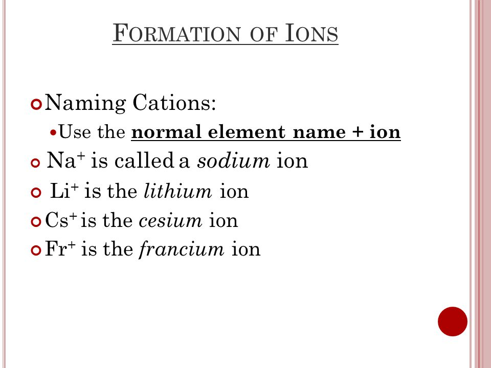 F ORMATION OF I ONS Naming Cations: Use the normal element name + ion Na + is called a sodium ion Li + is the lithium ion Cs + is the cesium ion Fr + is the francium ion