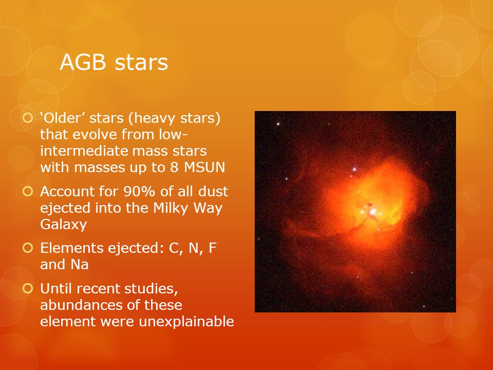 AGB stars  'Older' stars (heavy stars) that evolve from low- intermediate mass stars with masses up to 8 MSUN  Account for 90% of all dust ejected into the Milky Way Galaxy  Elements ejected: C, N, F and Na  Until recent studies, abundances of these element were unexplainable