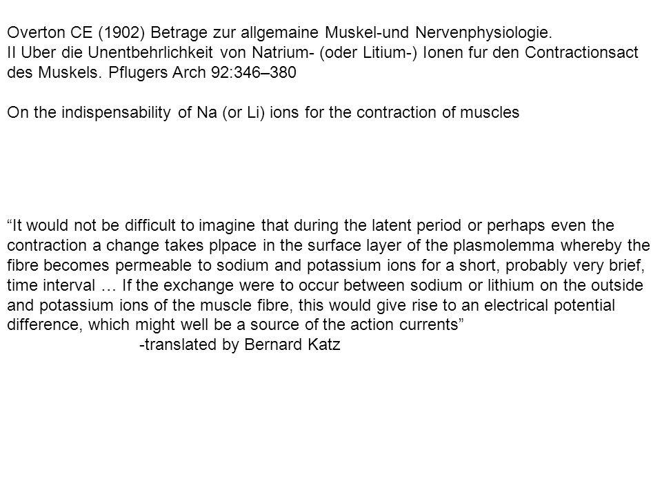 Overton CE (1902) Betrage zur allgemaine Muskel-und Nervenphysiologie.