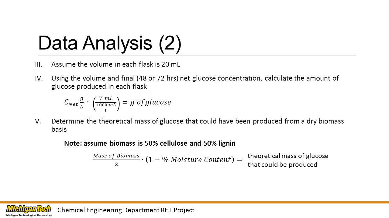 Data Analysis (2) Chemical Engineering Department RET Project theoretical mass of glucose that could be produced