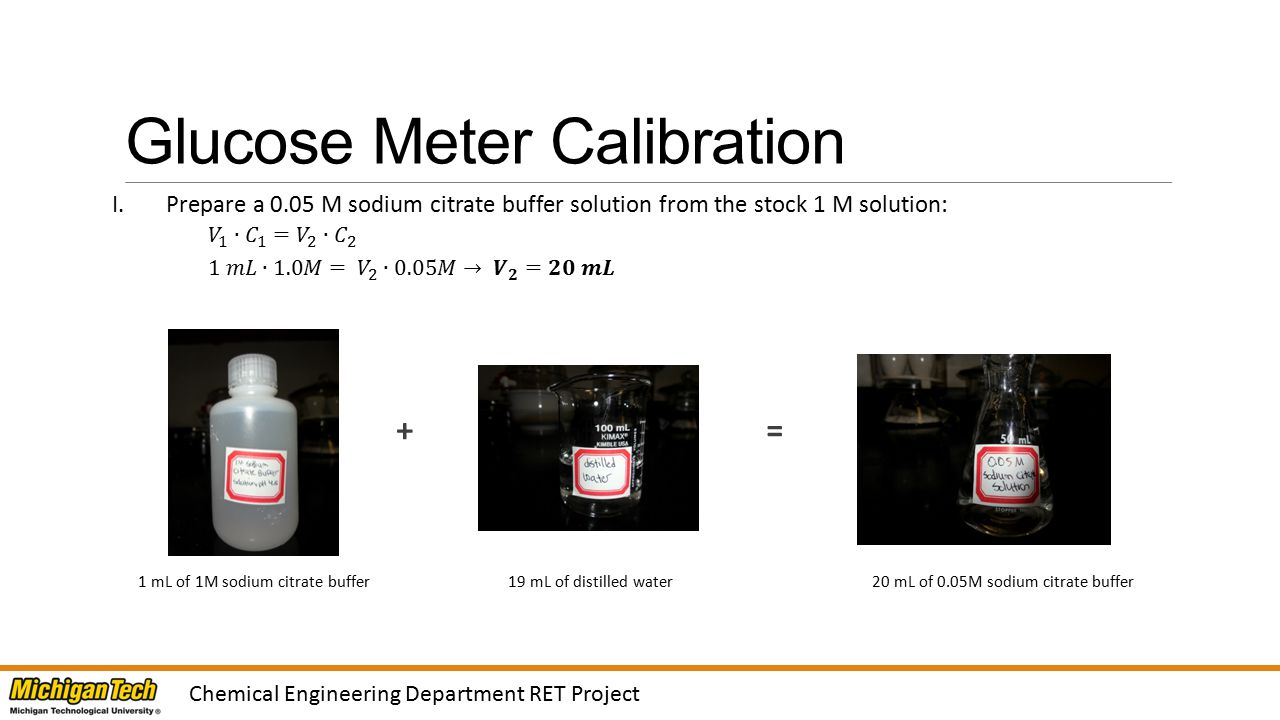 Glucose Meter Calibration (2) Chemical Engineering Department RET Project