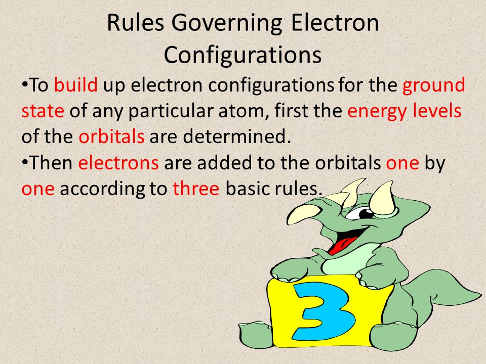Rules Governing Electron Configurations To build up electron configurations for the ground state of any particular atom, first the energy levels of the orbitals are determined.