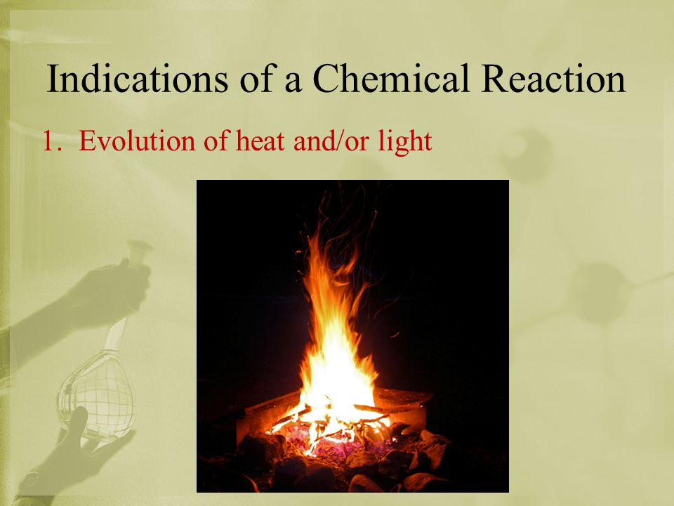 Indications of a Chemical Reaction 1. Evolution of heat and/or light