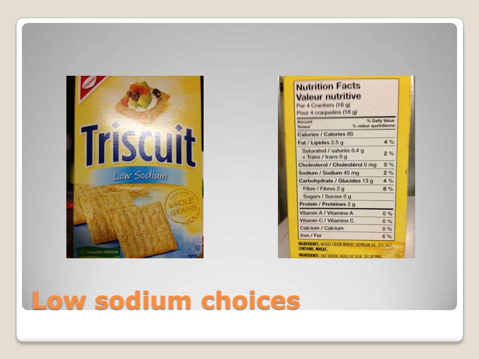 Low sodium choices