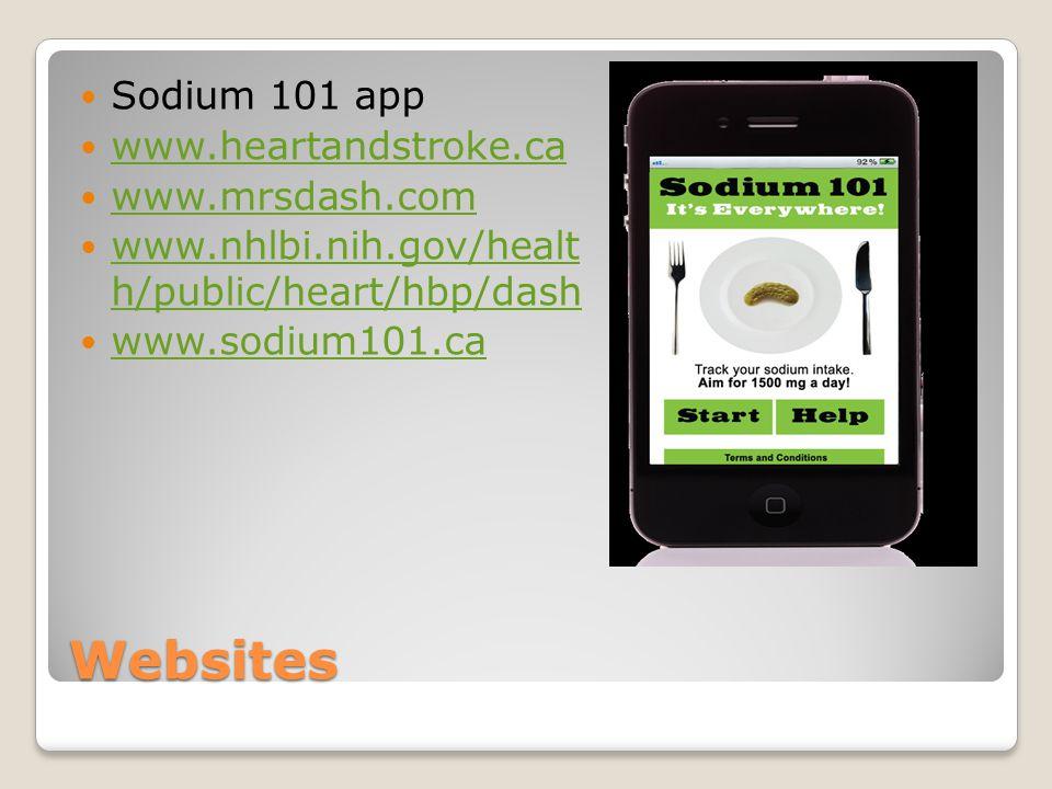 Websites Sodium 101 app www.heartandstroke.ca www.mrsdash.com www.nhlbi.nih.gov/healt h/public/heart/hbp/dash www.nhlbi.nih.gov/healt h/public/heart/hbp/dash www.sodium101.ca
