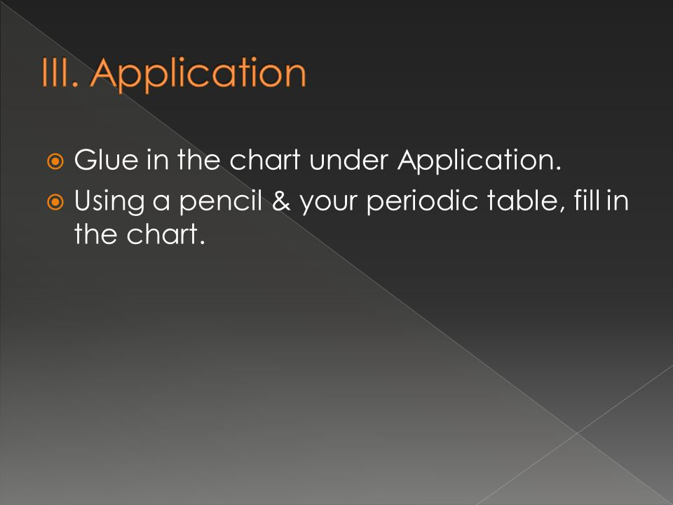  Glue in the chart under Application.  Using a pencil & your periodic table, fill in the chart.