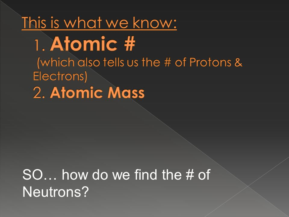 SO… how do we find the # of Neutrons
