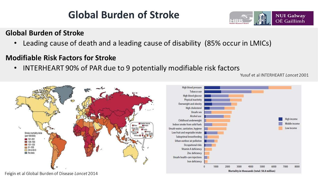 Global Burden of Stroke Leading cause of death and a leading cause of disability (85% occur in LMICs) Modifiable Risk Factors for Stroke INTERHEART 90% of PAR due to 9 potentially modifiable risk factors Yusuf et al INTERHEART Lancet 2001 Feigin et al Global Burden of Disease Lancet 2014
