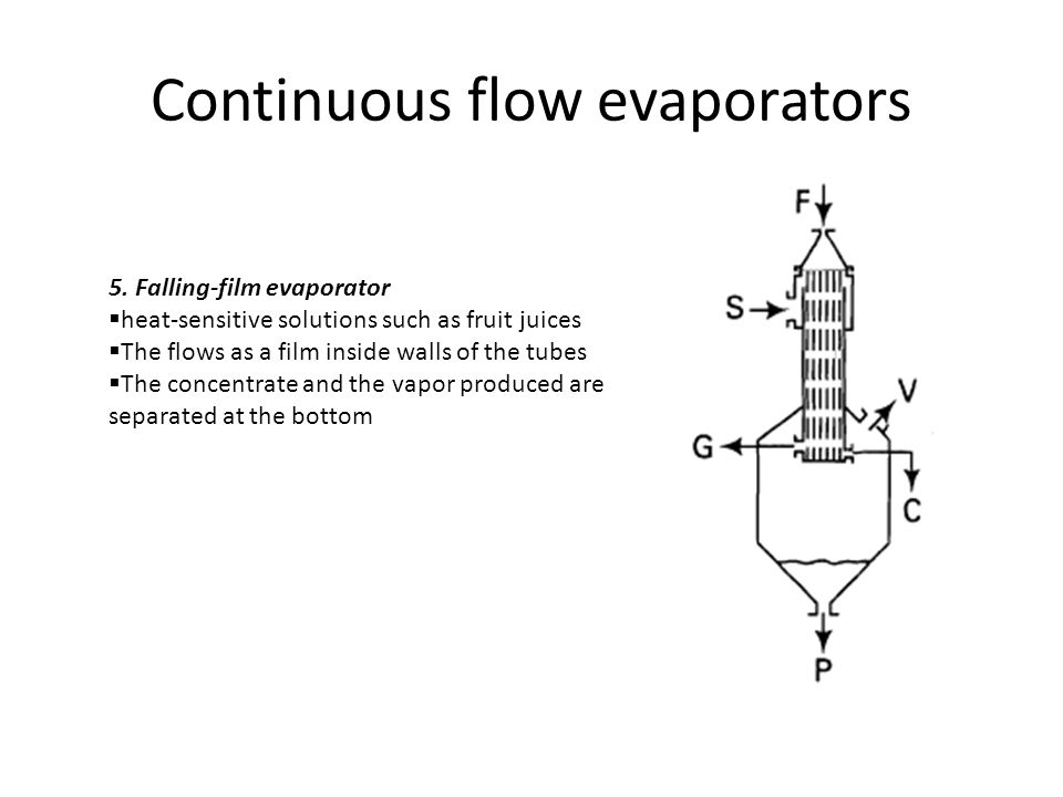 Continuous flow evaporators 5. Falling-film evaporator  heat-sensitive solutions such as fruit juices  The flows as a film inside walls of the tubes
