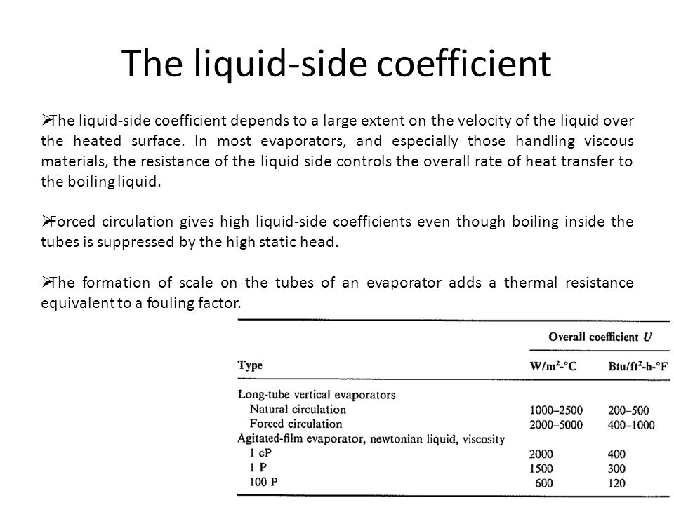 The liquid-side coefficient  The liquid-side coefficient depends to a large extent on the velocity of the liquid over the heated surface. In most eva