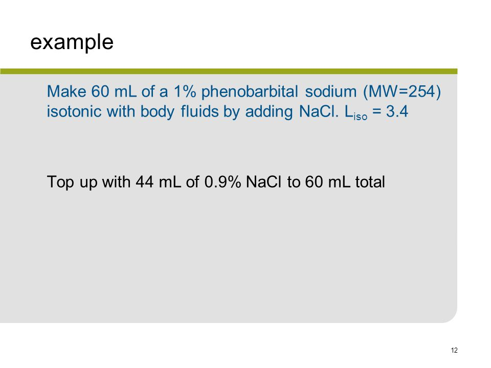 12 example Make 60 mL of a 1% phenobarbital sodium (MW=254) isotonic with body fluids by adding NaCl.